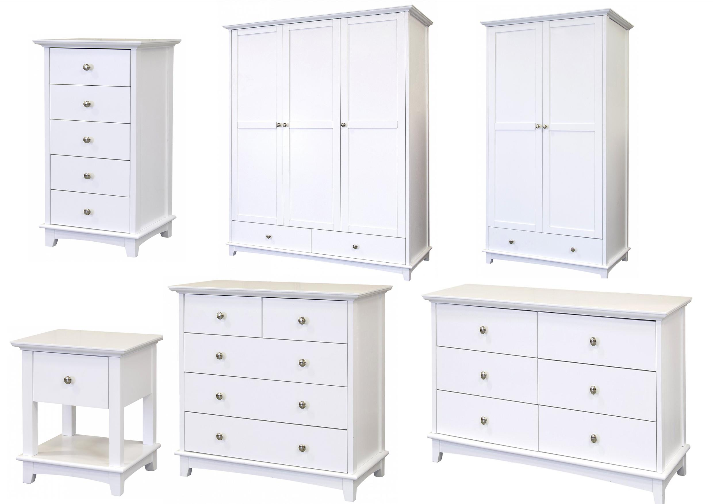 Toulouse White Painted Bedroom Furniture Bedside Chest Of Drawers Wardrobes Ebay