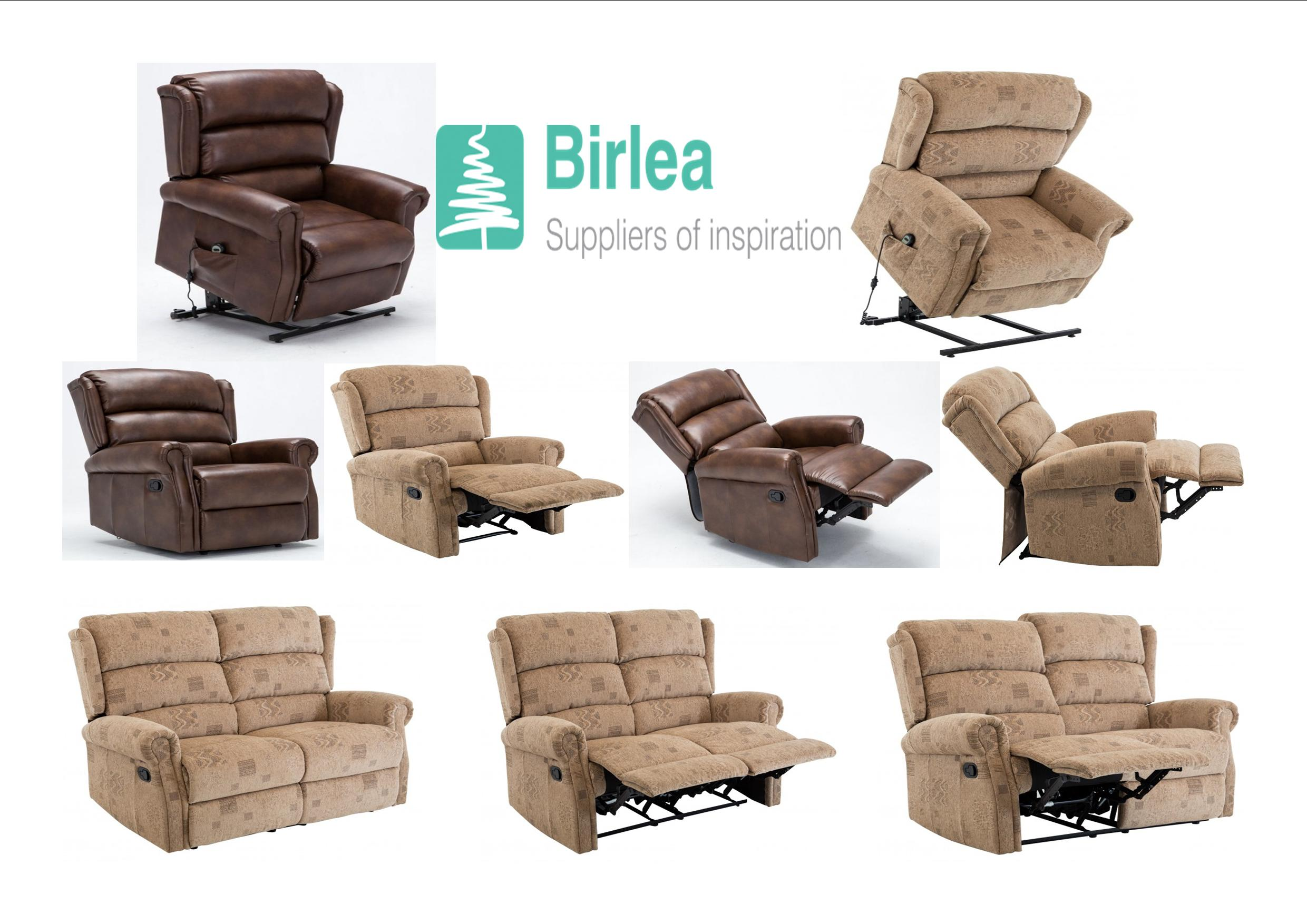 Birlea Manhattan Fabric Recliner And Rise Recliner Chair And 2 Seater  Recliner