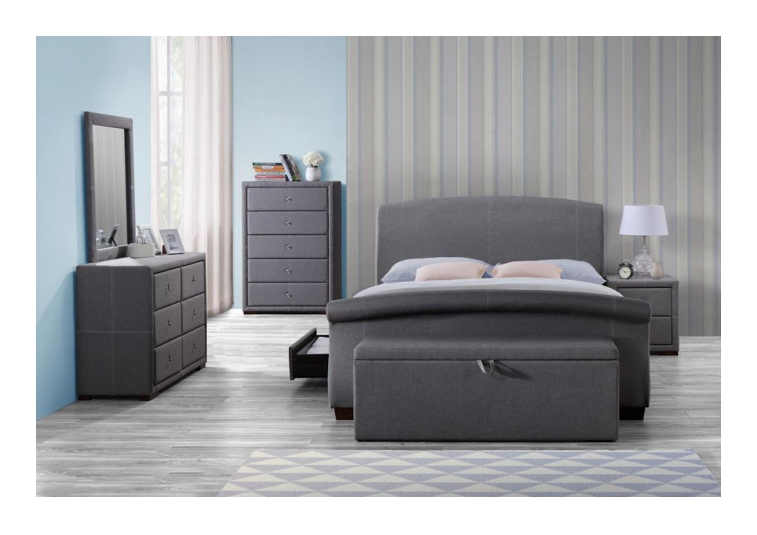 Birlea sorrento grey fabric bedroom furniture bedside drawers storage box ebay for Bedroom set with storage drawers