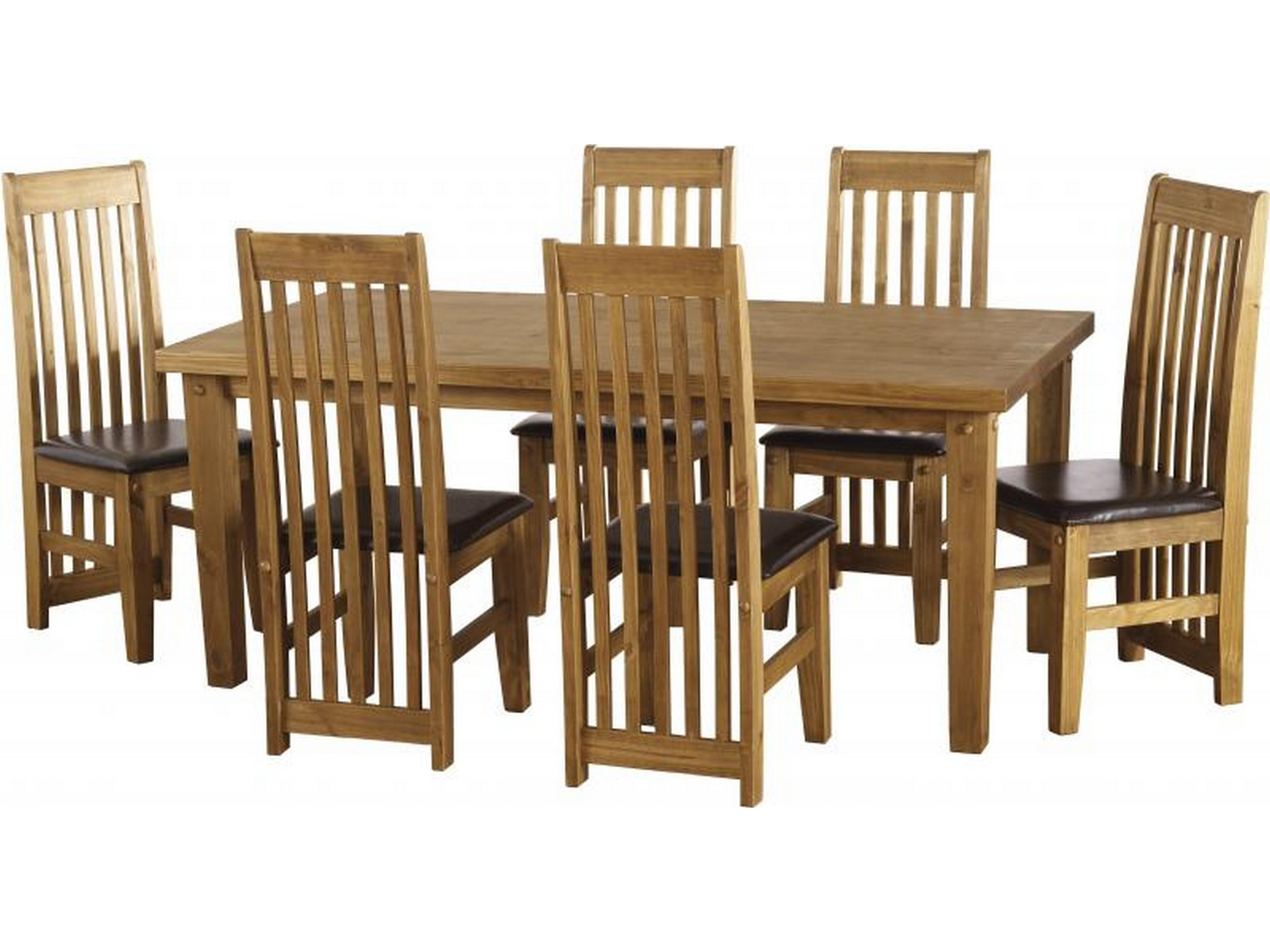 Ordinaire Seconique Tortilla 6ft Dining Table U0026 6 Chair Set Solid Pine With Brown PU  Leather Seats