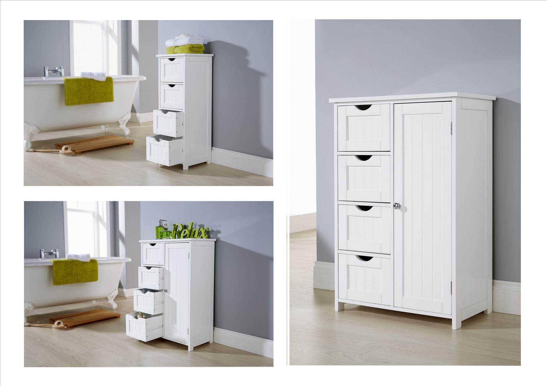 A white wooden free-standing bathroom cabinet with 4 deep drawers option and a 4 drawer 1 drawer cabinet option. A simple classic design offering excellent ...