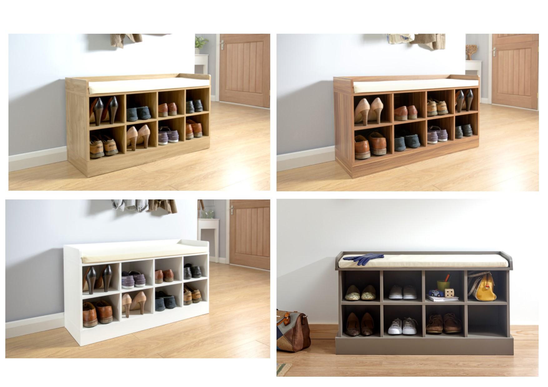 Kempton Shoe Bench Hallway Storage Rack Oak Grey Walnut Or White