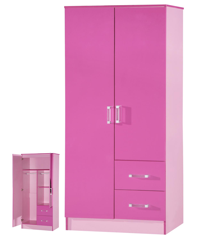 Swell Details About High Gloss Pink 2 Door 2 Drawer Wardrobe Marina Kids Bedroom Furniture Home Interior And Landscaping Ymoonbapapsignezvosmurscom