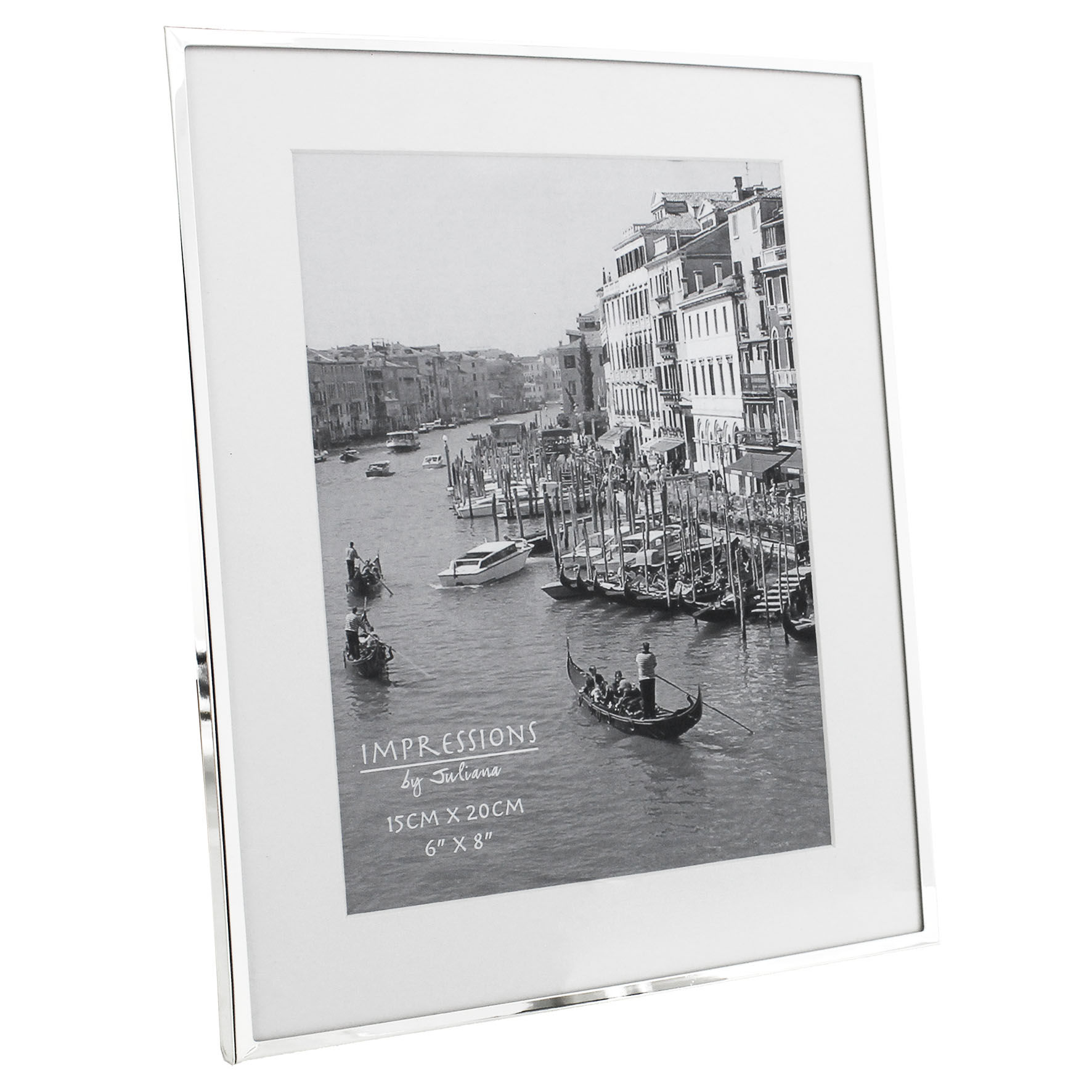 JULIANA SILVER PLATED WHITE BORDER FRAME BOXED - 4\