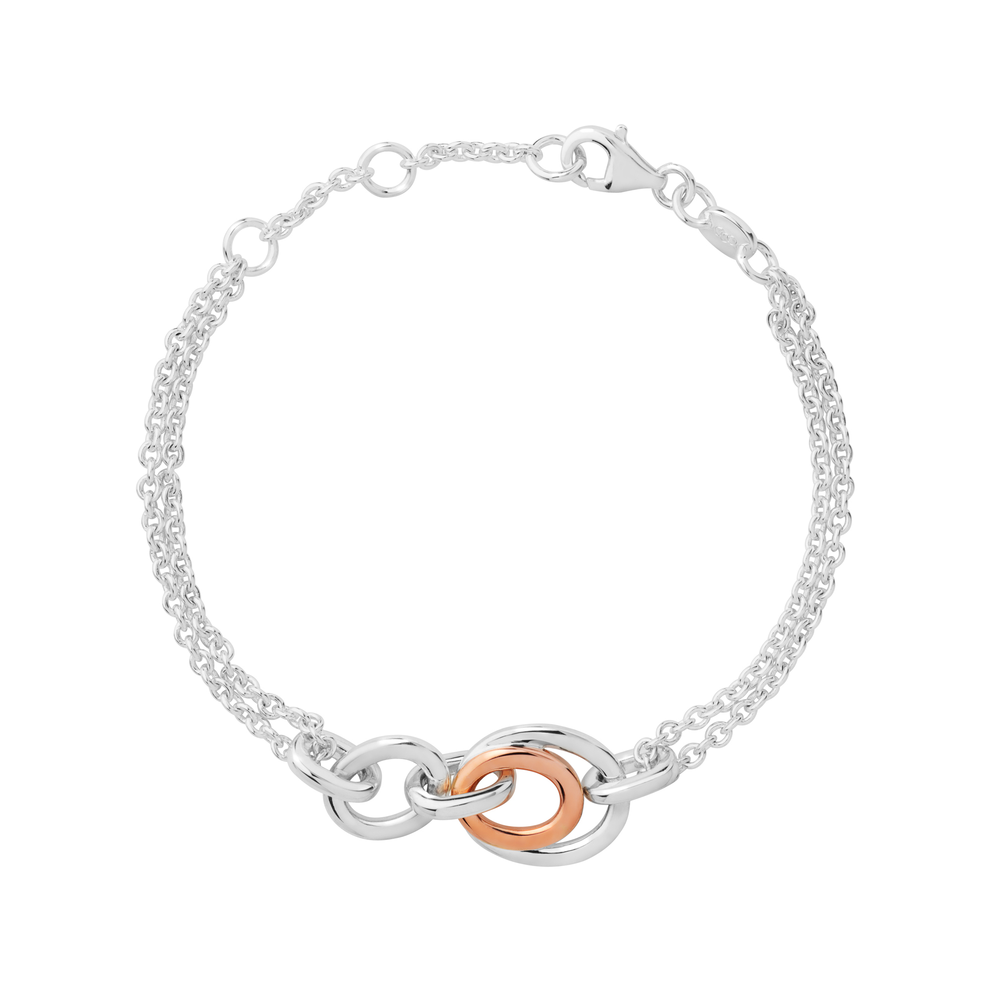 783ce1b59 Details about Links of London Sterling Silver & Rose Gold Vermeil Linked  Oval Chain Bracelet