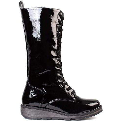 Heavenly Feet Maze Womens Ladies Purple Patent Vegan Wedge Boots Size 4-8