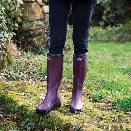 Le Chameau Giverny Donna Rosso Stivali di Gomma Wellington