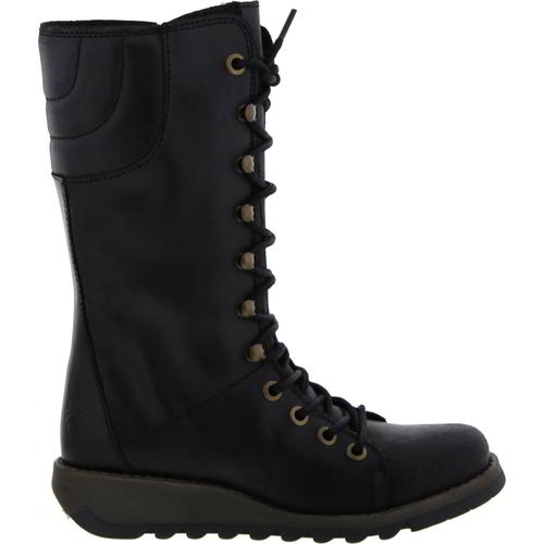 Fly London Ster Womens Ladies Mid Calf Black Zip Up Wedge Leather Boots Size 4-8