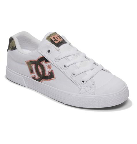 DC Chelsea TX SE Womens Ladies White Camo Skate Shoes Trainers Size 4-8