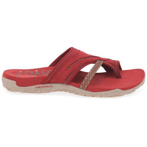 Merrell-Terran-Post-II-Womens-Ladies-Toe-Post-Leather-Walking-Sandals-Red-4-8 thumbnail 11
