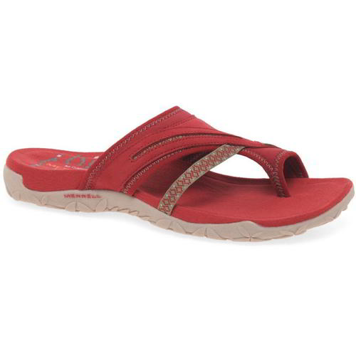 Merrell-Terran-Post-II-Womens-Ladies-Toe-Post-Leather-Walking-Sandals-Red-4-8 thumbnail 13
