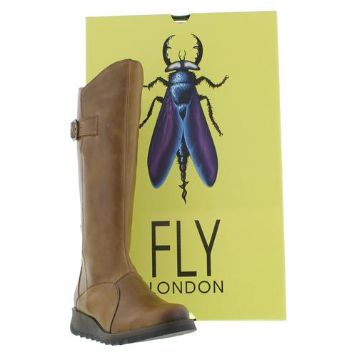 Fly London Mol 2 Womens Ladies Knee High Brown Wedge Zip Up Boots Size UK 4-8