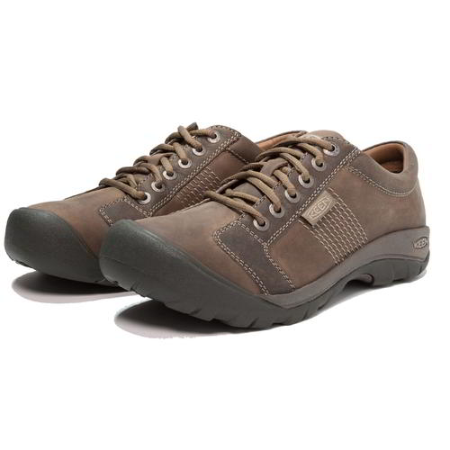 Keen-Austin-Mens-Brown-Leather-Walking-Shoes-Size-UK-8-13 miniatura 9