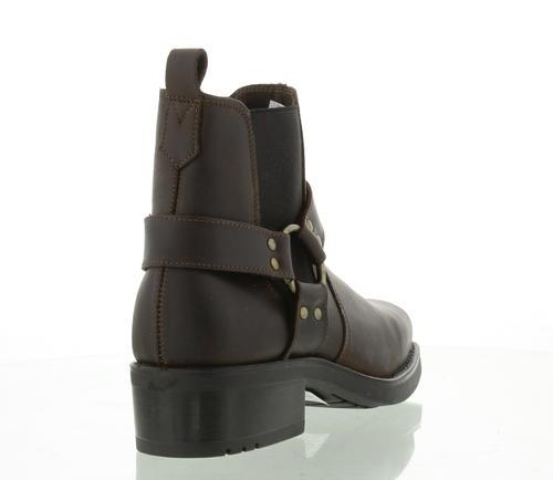 Gringos Harley Harness Mens Black Brown Short Cowboy Biker Ankle Boots Size 7-11