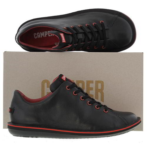 Camper Beetle 18648 Mens Black Red Leather Shoes Trainers Size 8-11