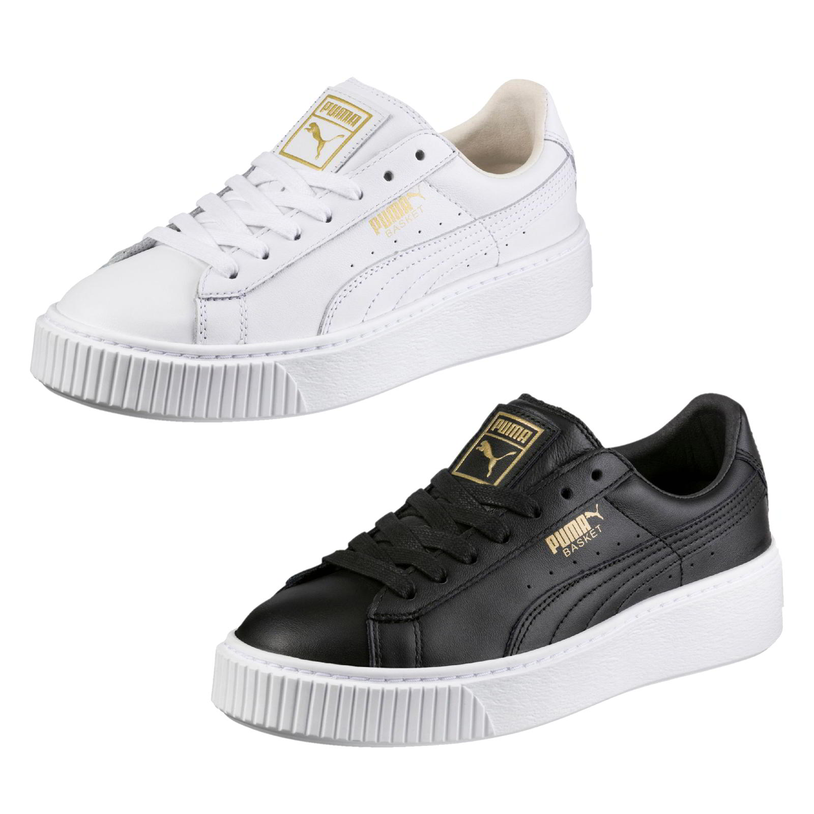 0212768f6c5c Details about Puma Basket Platform Womens Ladies Black White Gold Trainers  Shoes Size 4-8