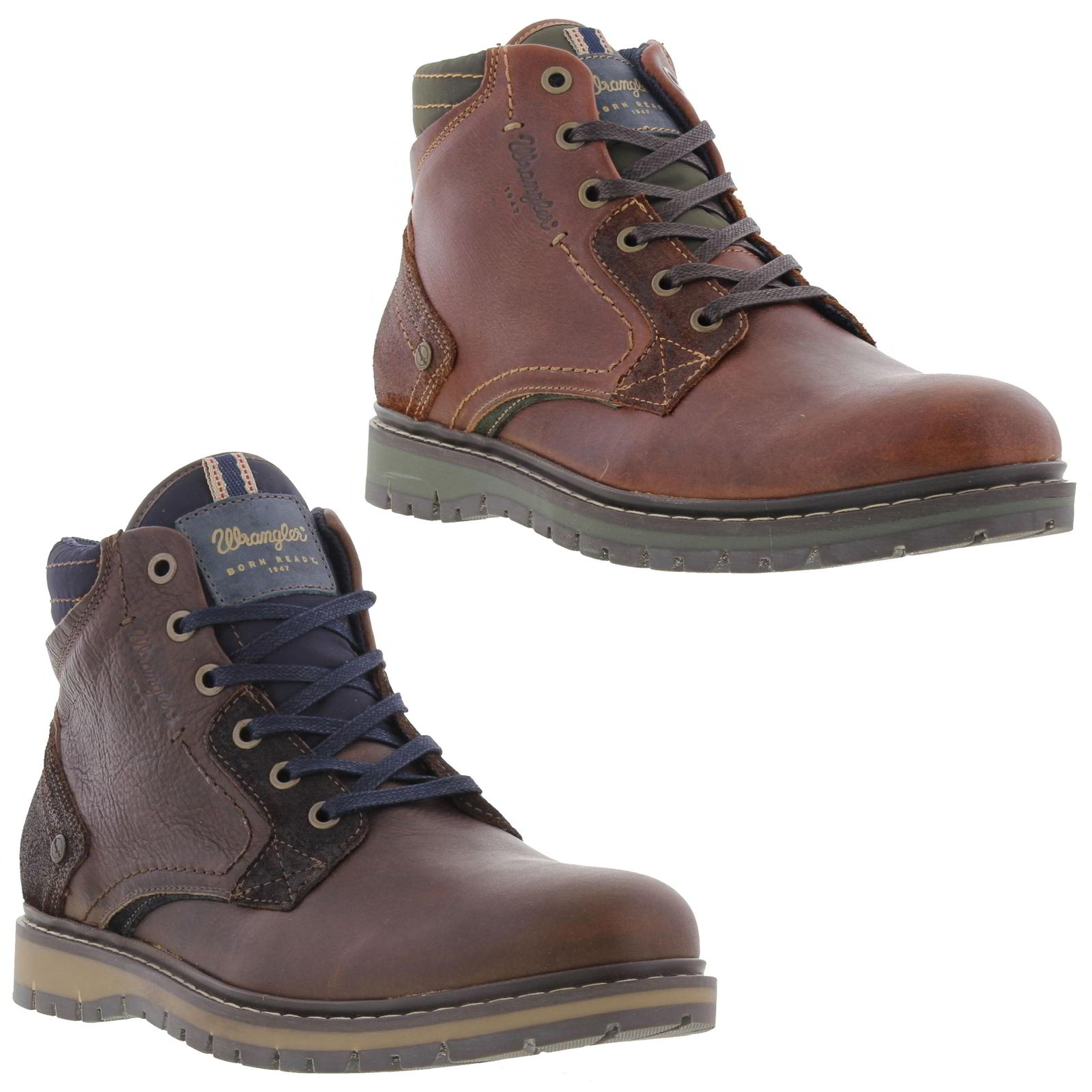 Wrangler Miwouk Mens Brown Leather Lace Up Chukka Ankle Boots Size 8