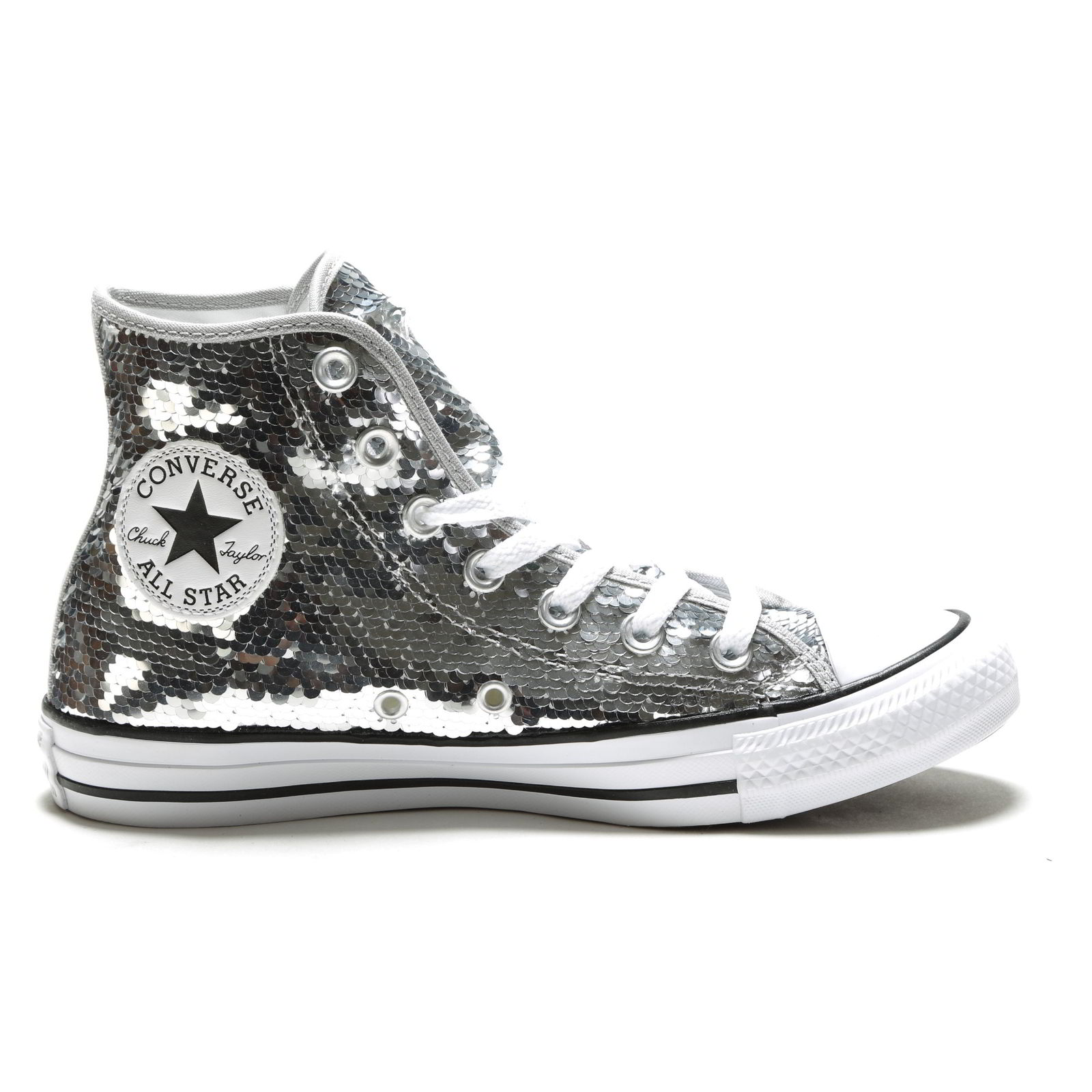 e3f6d79a993a Details about Converse CT All Star Hi Sequins Womens Silver High Tops Boots  Size 4-8