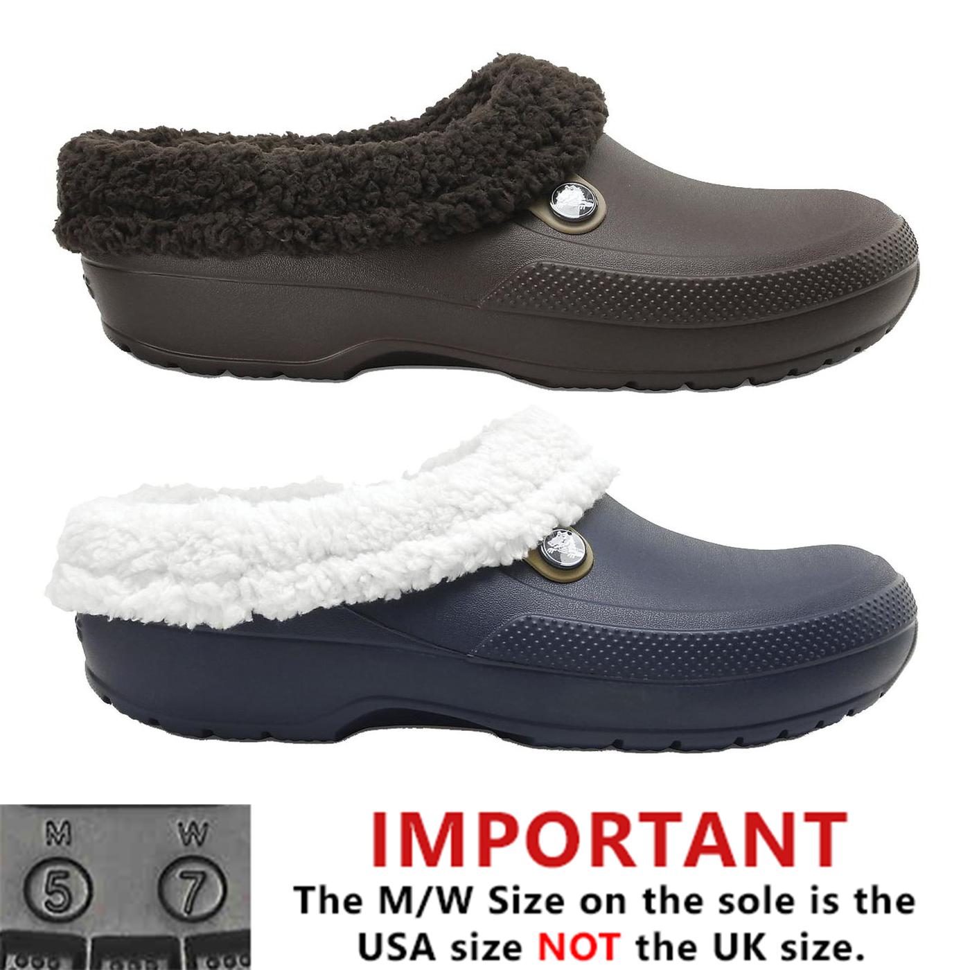5d2c01e8fae0 Crocs Slippers Blitzen Mens Womens Ladies Lined Vegan Clogs Shoes ...