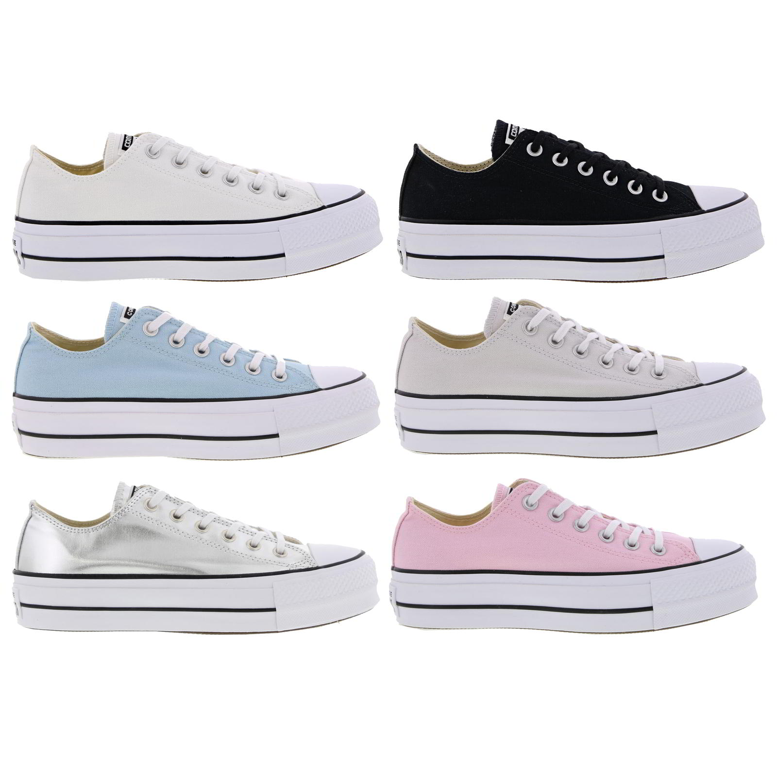 b387f2ea1416 Details about Converse All Star Low Womens Platform Lace Up Shoes White  Black Blue Silver Pink