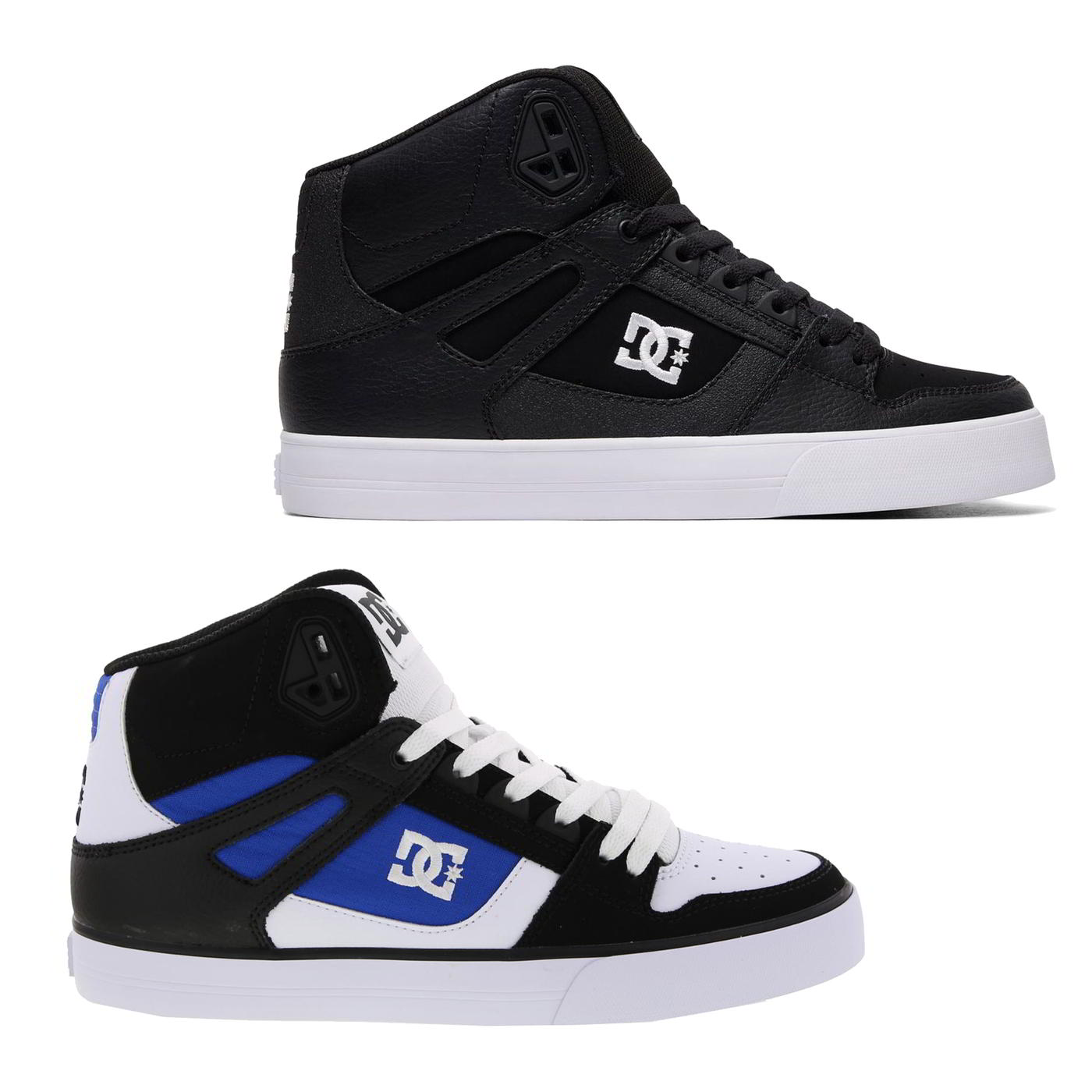 cd37ec9df6 Details about DC Pure High-Top WC Mens Black White Leather Hi Top Skate  Shoes Trainers 7-12