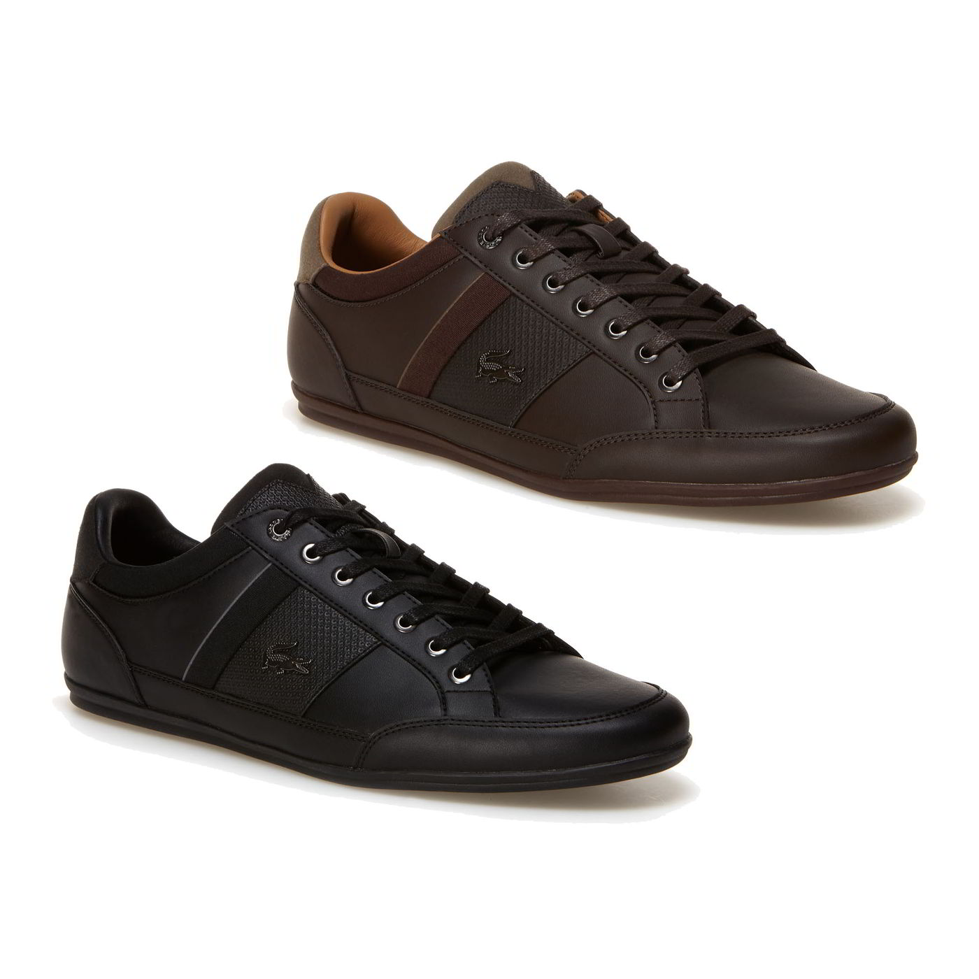 d7b3b711076f Lacoste Chaymon 118 1 Mens Black Brown Leather Trainers Shoes Size ...