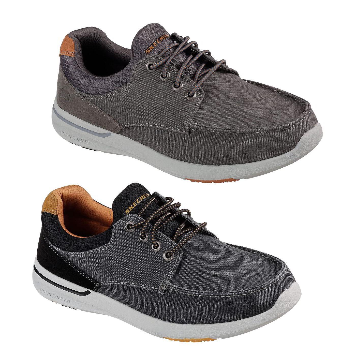 2899b2fb922d Skechers Elent Mosen Mens Canvas Boat Deck Shoes Black Grey Size 7 ...
