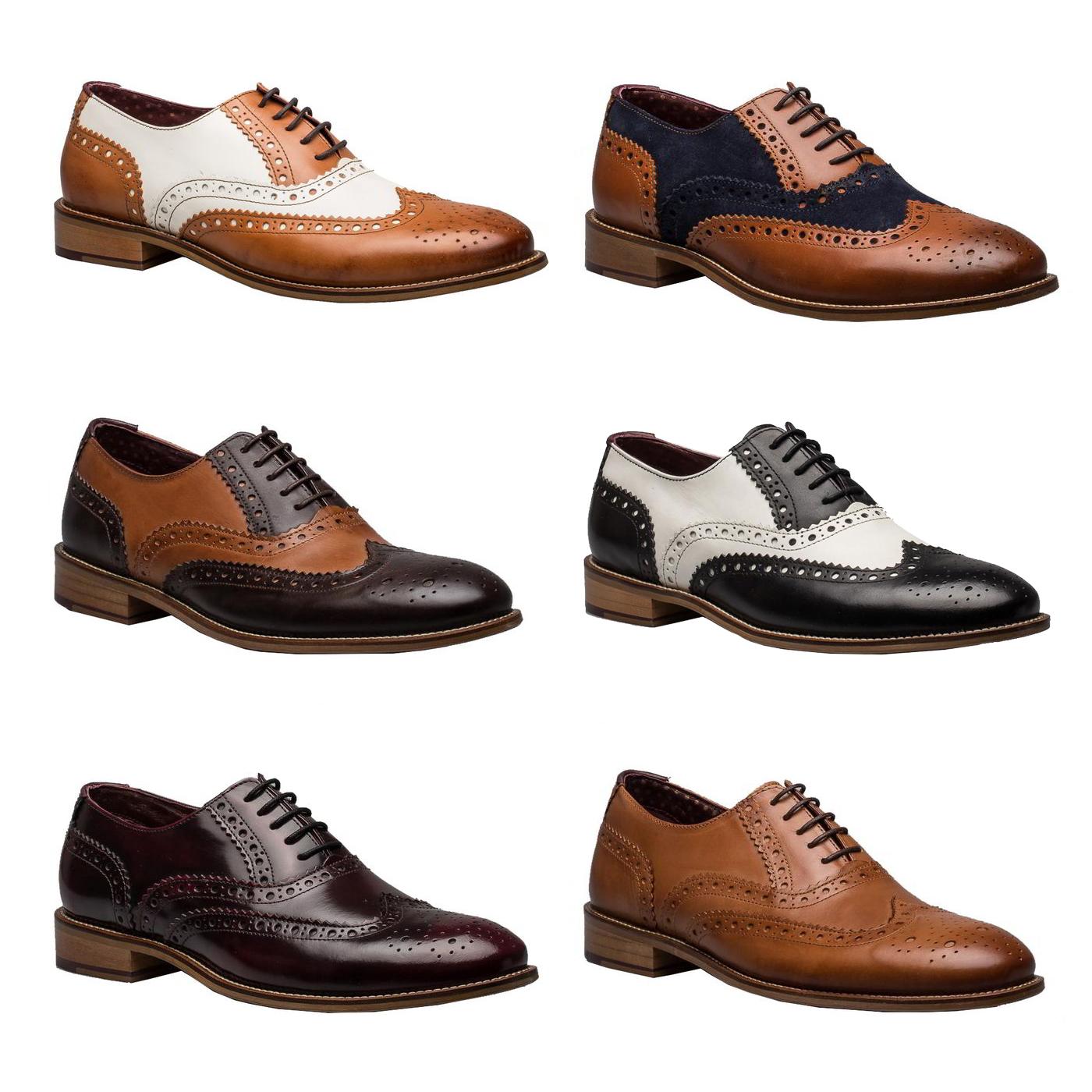 bb192f0a2c8 Détails sur London Chaussures Gatsby pour Homme en Cuir Marron Bout D Aile  Richelieu à Formelle Chaussures Taille 7-12- afficher le titre d origine