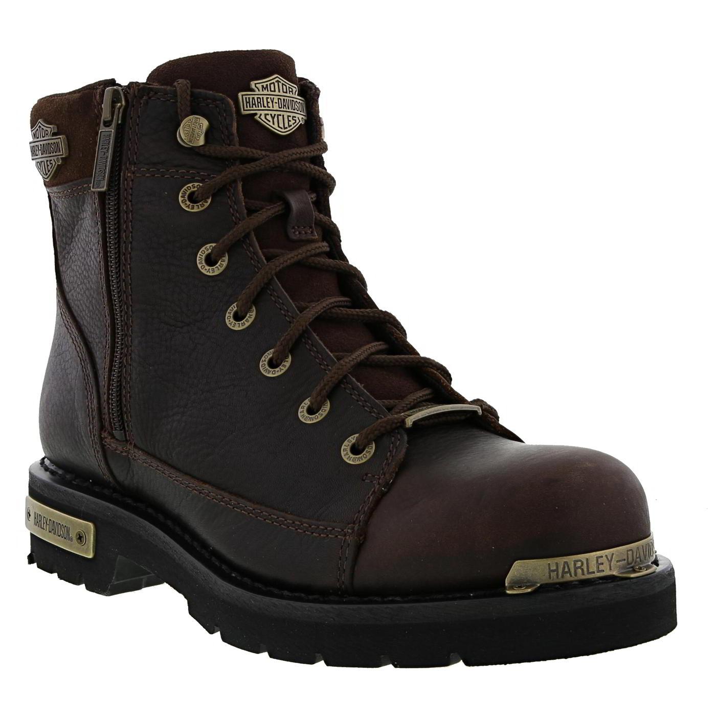 Harley Davidson Chipman Mens Brown Leather Lace Up Biker Boots Size ... 0000bda5bbb