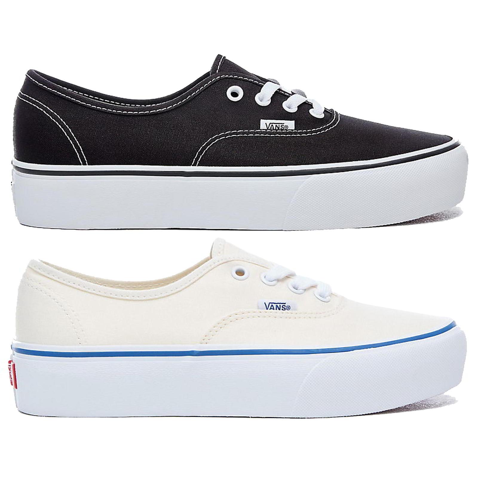 c30e4c5e45ef83 Details about Vans Authentic Platform Womens Black White Lace Up Chunky  Trainers Size 4-8