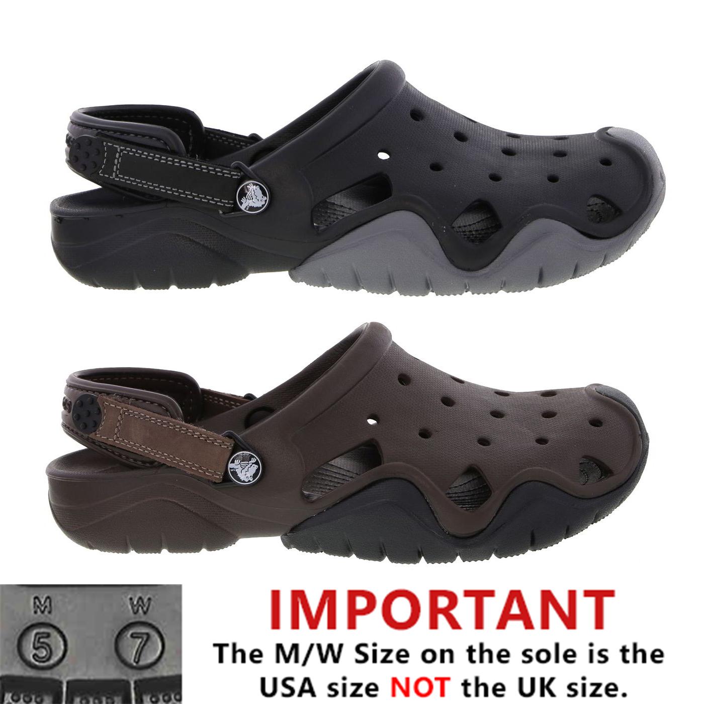 6a559e61bb1ac Detalles de Crocs Swiftwater zueco para hombre Negro Marrón Resbalón En  Sandalias Zapatos Talla 7-12- ver título original