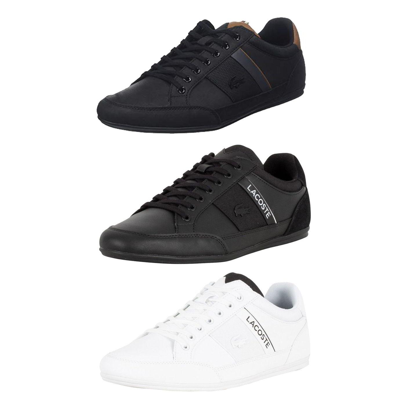 2e1f1f084a Détails sur Lacoste Chaymon Homme Noir Blanc en Cuir à Lacets Baskets  Chaussures Taille 7-11- afficher le titre d'origine