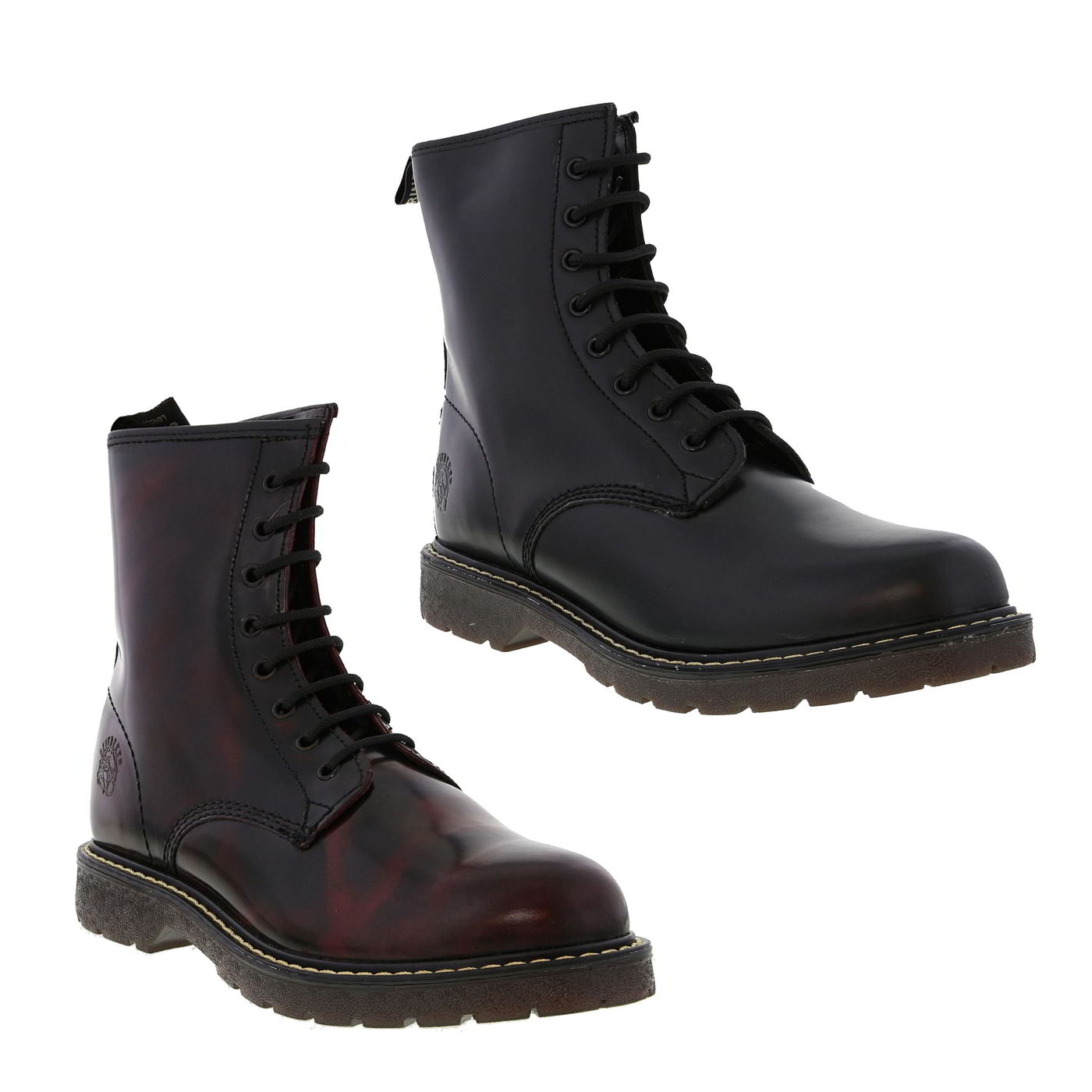 80fe432babb Details about Grinders Cedric Mens Black Red Leather 8 Eye Air Cushion  Ankle Boots Size 7-12
