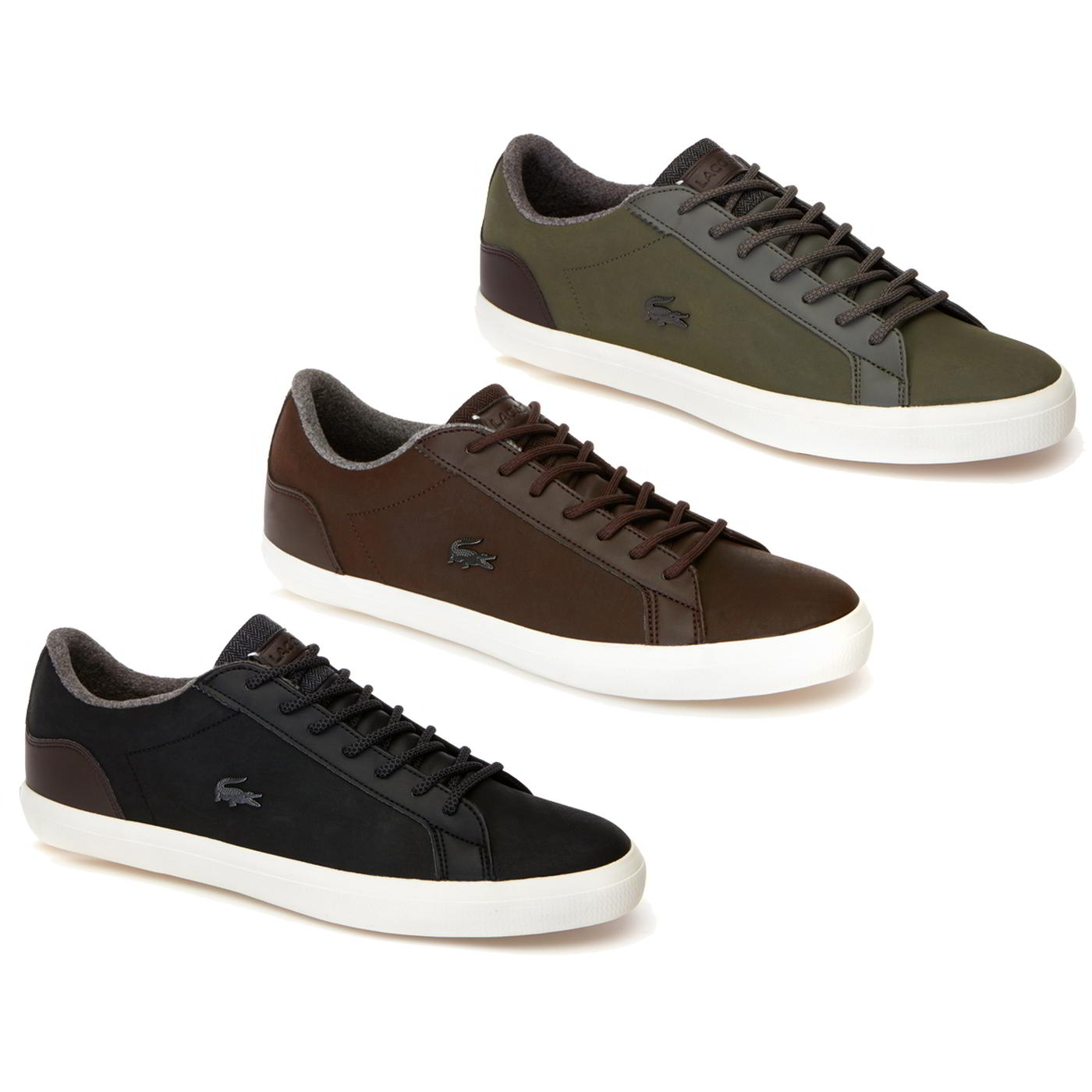 2dd103e847344 Details about Lacoste Lerond Mens Black Brown Green Leather Winter Warm Trainers  Shoes