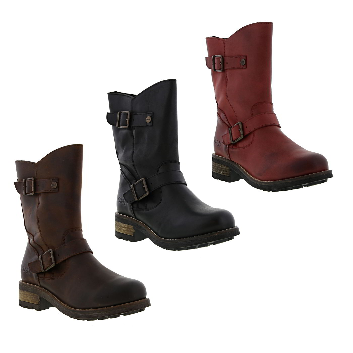 0893a470d22 Details about Oak and Hyde Crest Demi Womens Ladies Black Brown Red Biker  Zip Boots Size 4-9