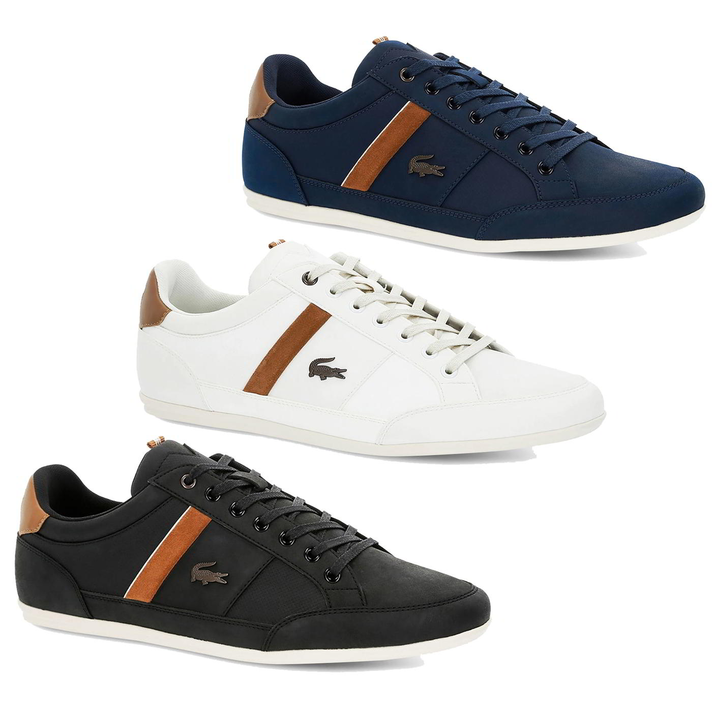 a41120a6d4beb Lacoste Chaymon 119 5 Mens White Black Blue Leather Trainers Shoes ...