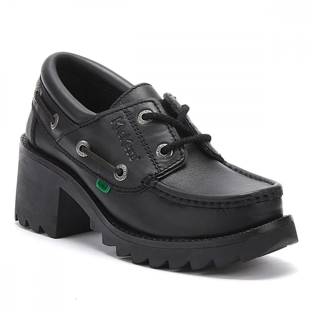 Kickers Kilo Girls Shoe High Heeled Block Shoe in Black Size EU 36,37,38,39