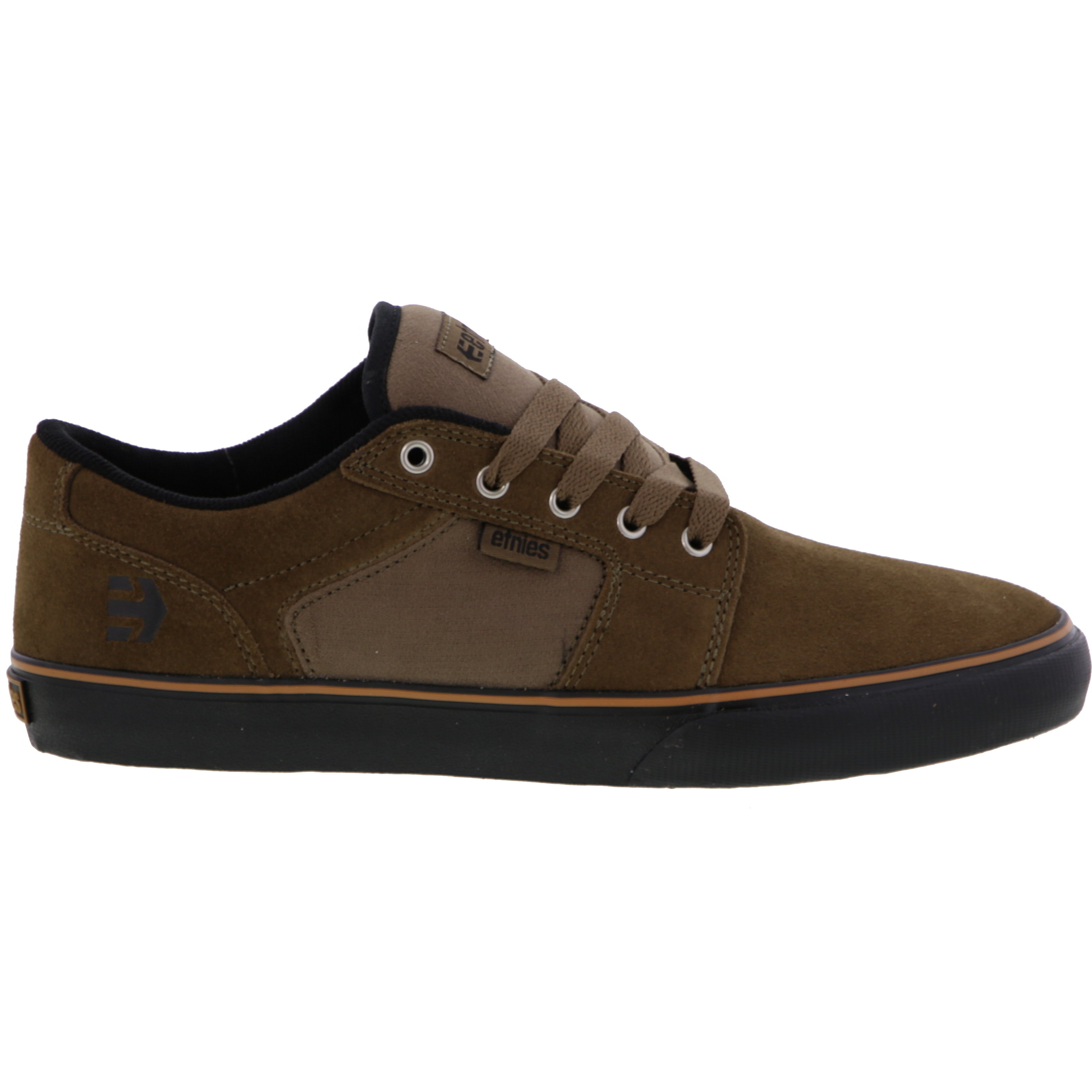 New Mens Etnies Brown Barge Ls Canvas Trainers Skate Lace Up