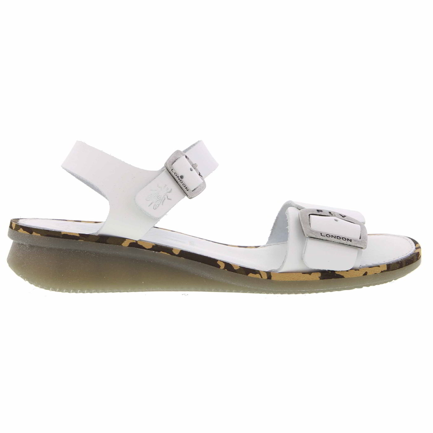 Fly London Ekan Womens Ladies Leather Wedge Sandals White Size UK 4-8