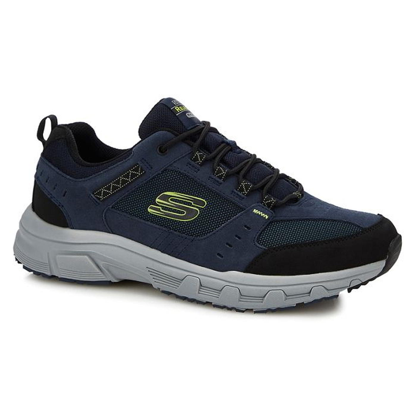 Skechers Mens Oak Canyon Relaxed Fit Shoes Trainers Navy Lime