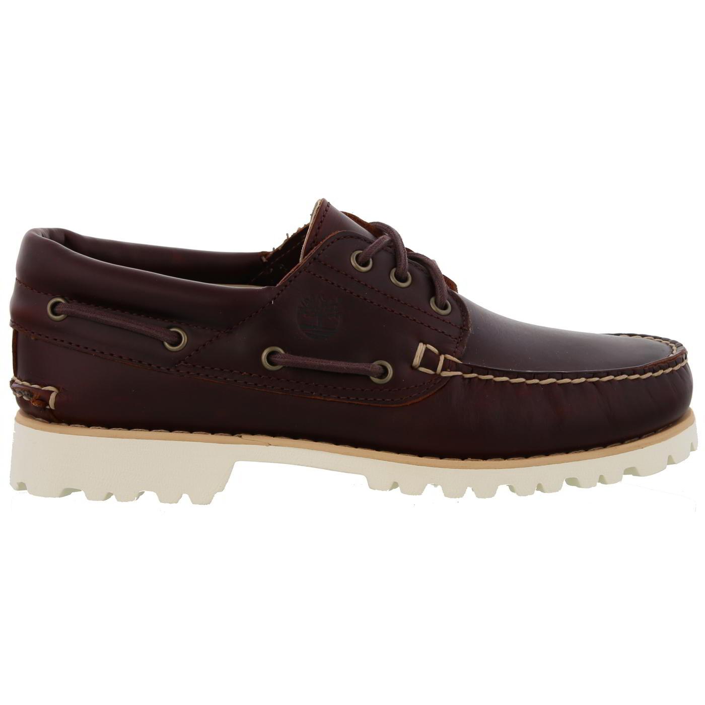 Détails sur Timberland Chilmark Homme Chaussures Bateau en cuir marron 3 Eye Deck Chaussures Taille 8 13.5 afficher le titre d'origine