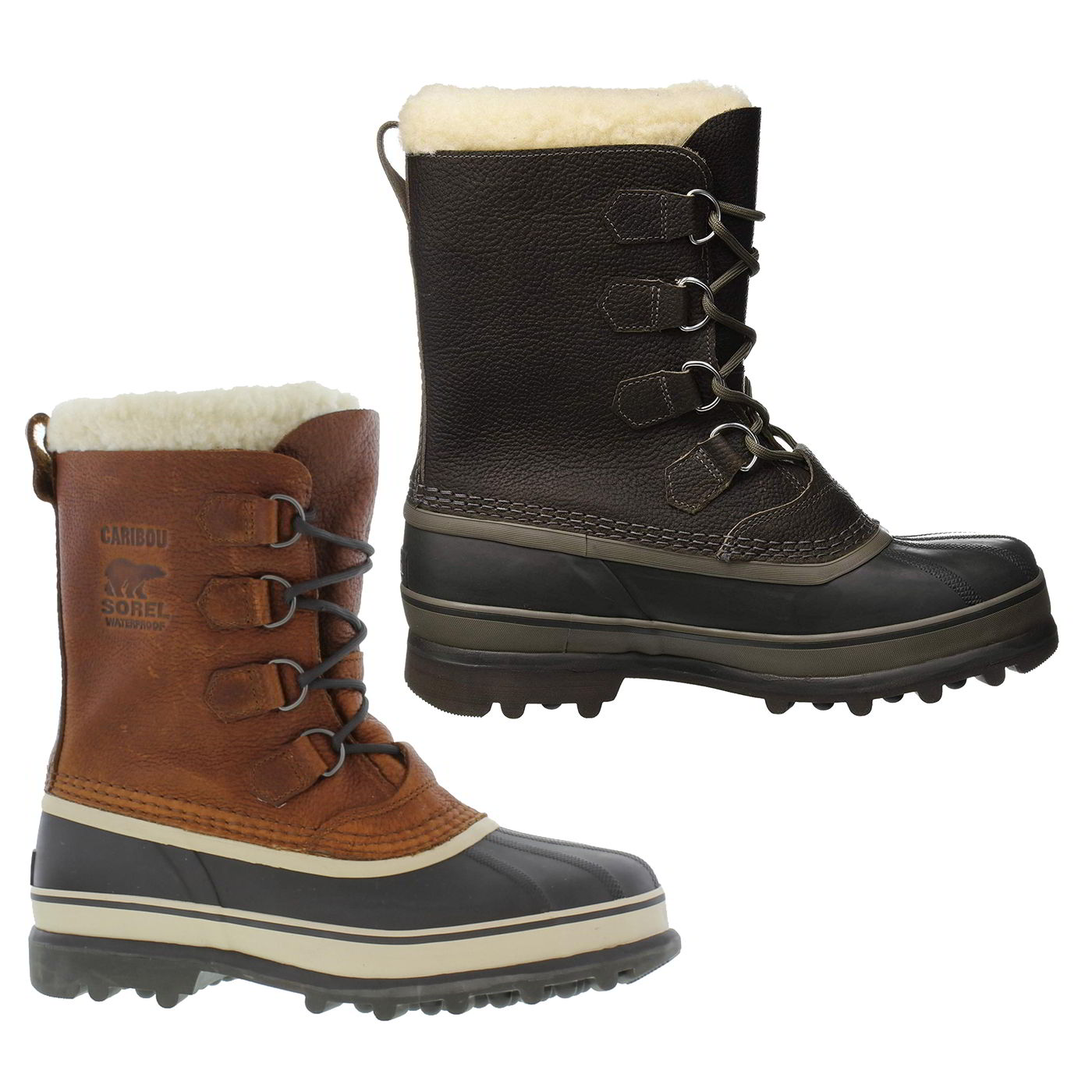 3739ca4a8d5e3 New Sorel Caribou Wool Mens Waterproof Brown Leather Snow Boots Size ...
