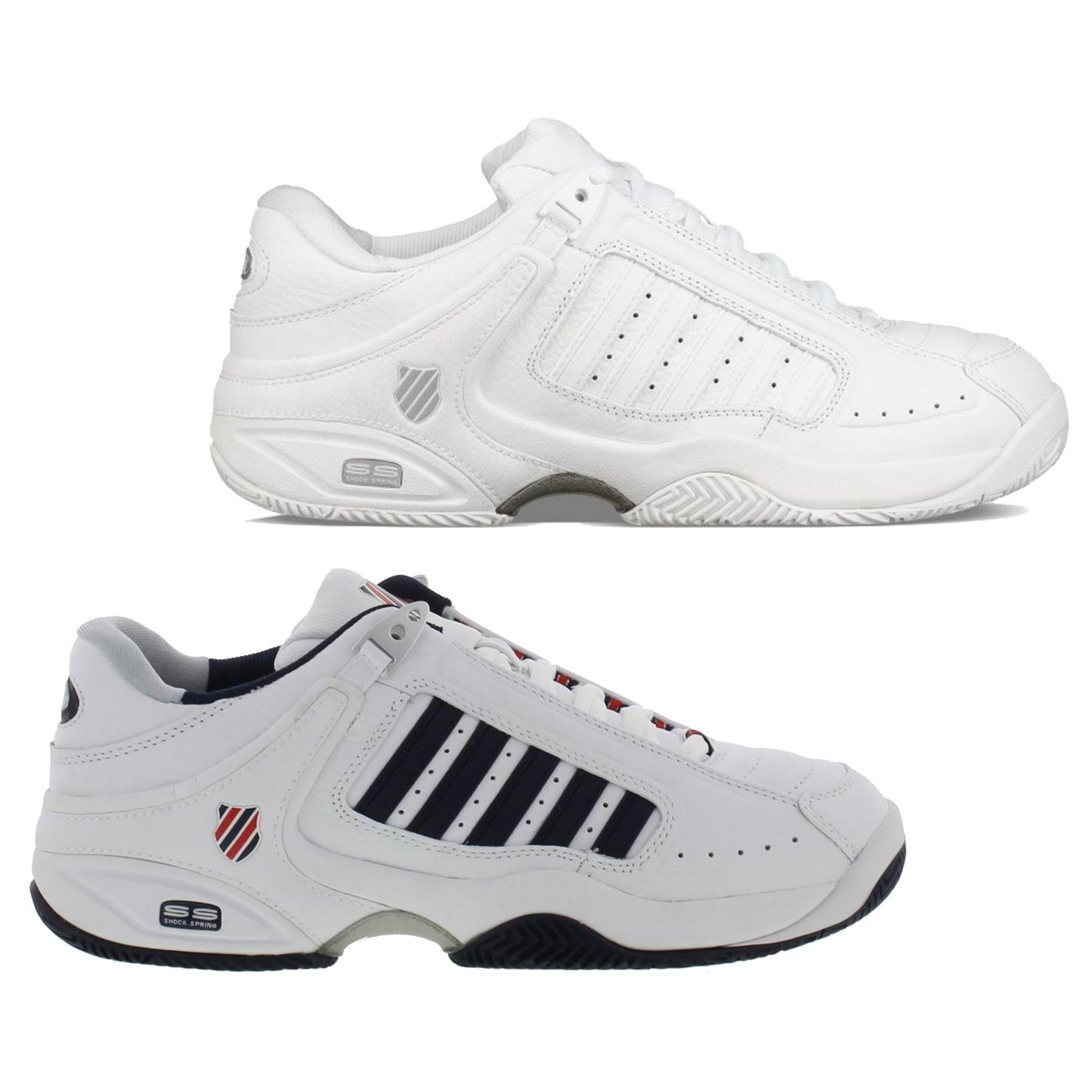 d3797cb00 Details about K Swiss Defier RS Mens Classic White Leather Tennis Trainers  Shoes Size UK 8-13
