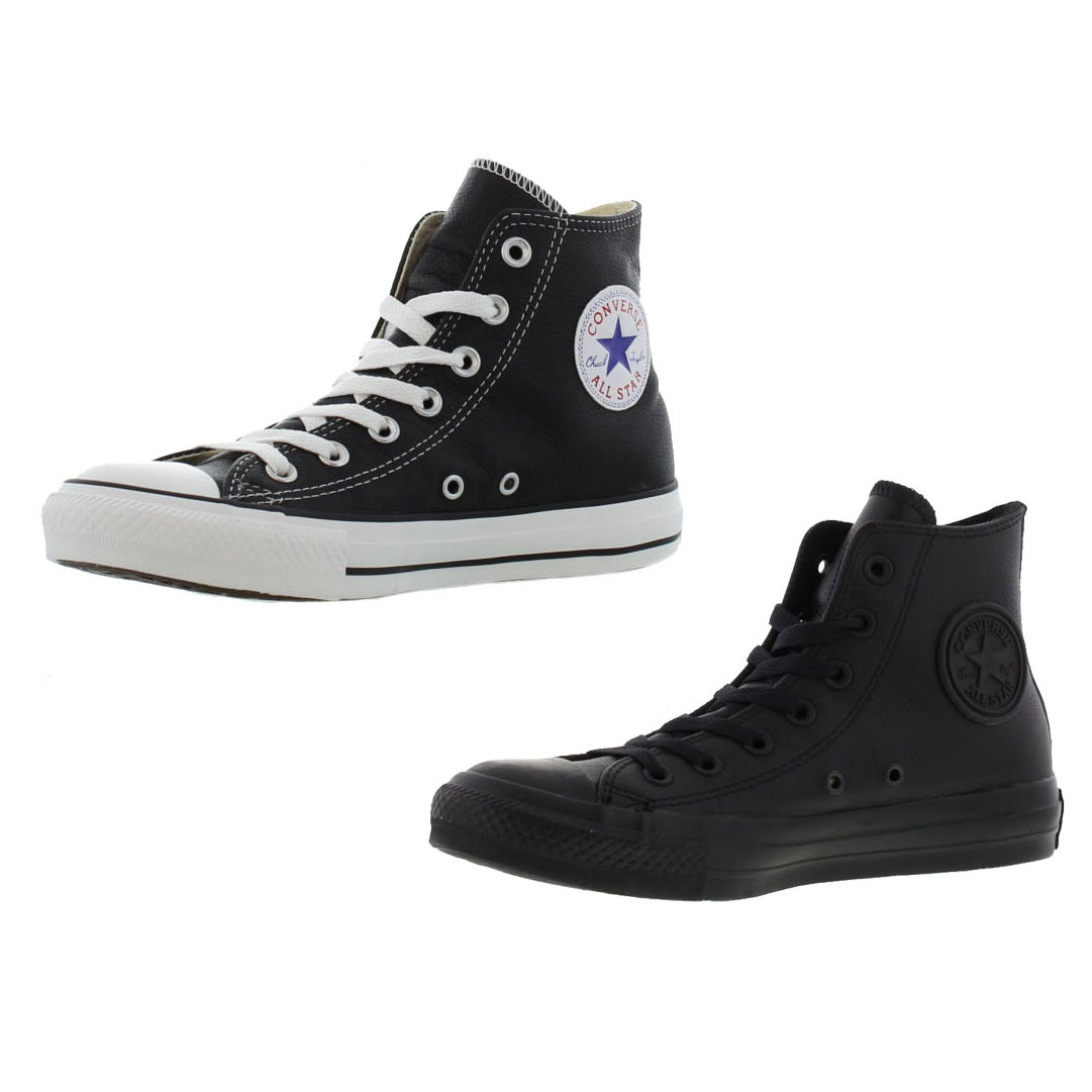 ba883fb9474 Détails sur Converse All Star Hi Cuir Noir Hommes Femmes Femmes Baskets  Chaussures Taille 3-13- afficher le titre d origine