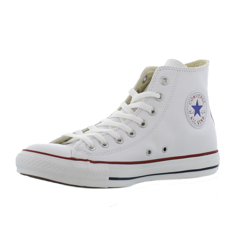 Details about Converse All Star High Top Leather Mens Womens Ladies White  Trainers Shoes