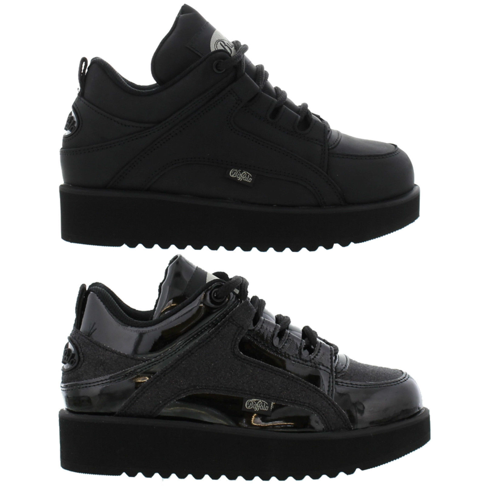 13f86ac5368fbe Details about Buffalo 1330   1330-4 Womens Black leather Trainers Shoes  Size 4-9