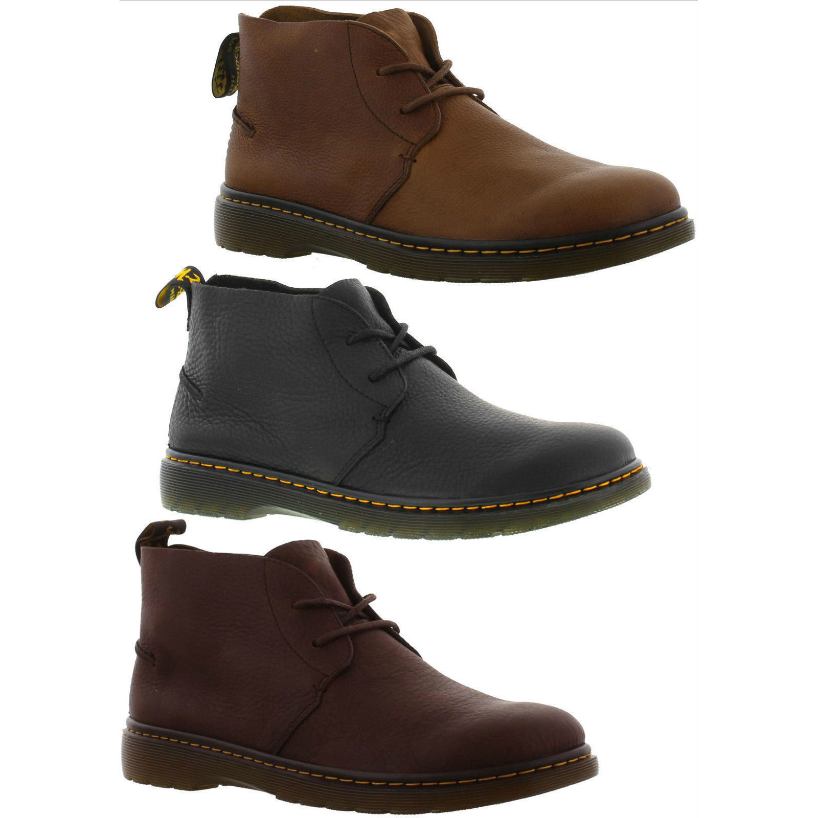 72282a52 Dr Martens Ember Mens Black Brown Leather Chukka Boots Size UK 8-13   eBay