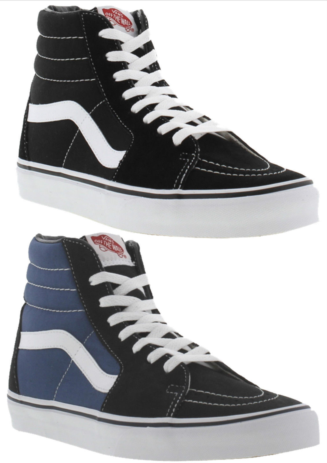 Vans SK8 Hi Tops Black Blue Canvas Mens Womens High Top Trainers ... c49d33ef7