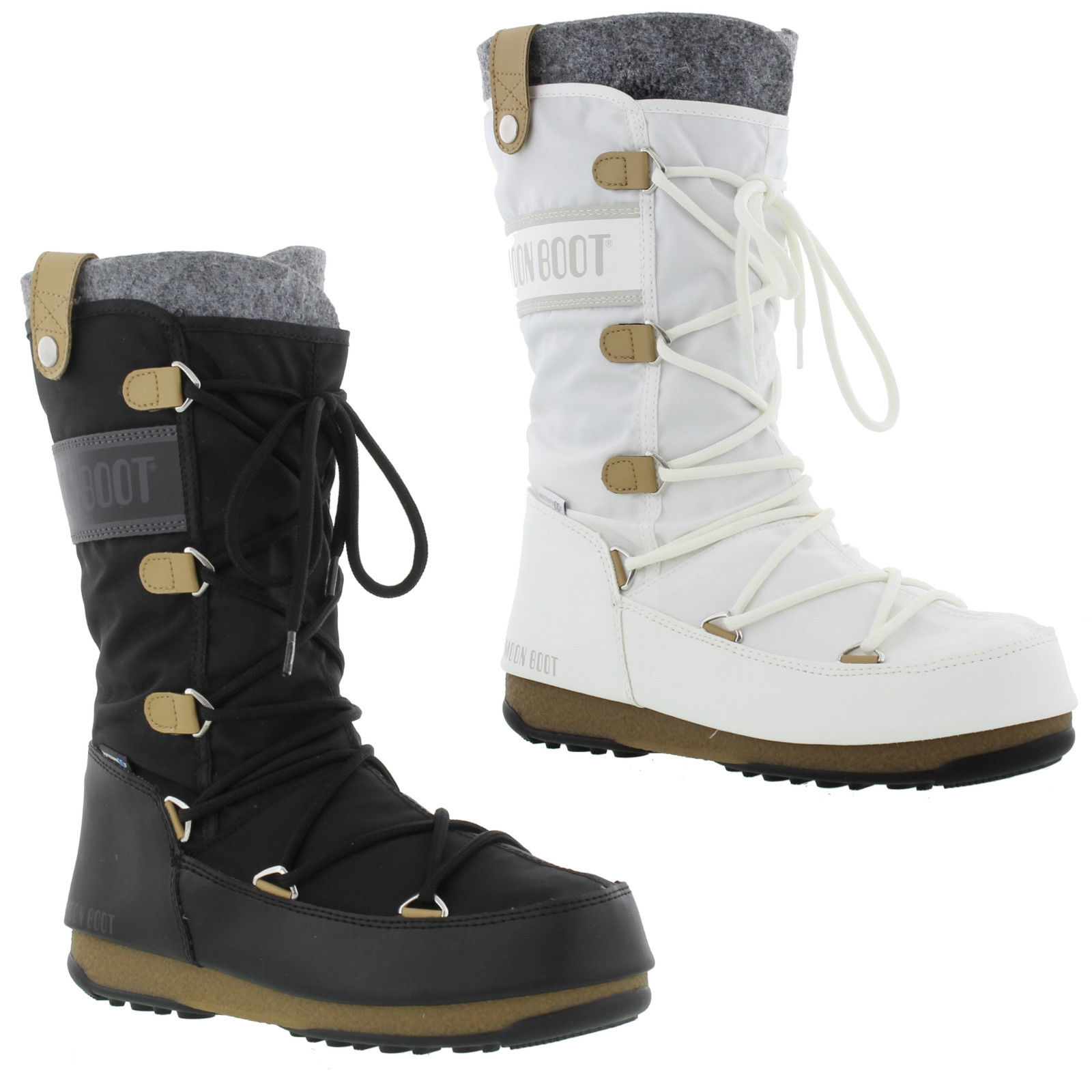 c74519824b1910 Details zu Moon Boots Monaco Felt Womens Black White Waterproof Ski Snow  Winter Size 4-7.5