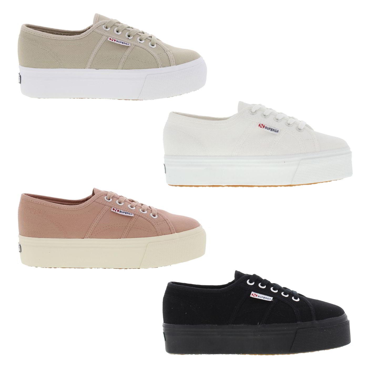 c8c6dca8b56 Superga 2790 Womens Black White Pink Chunky Platform Trainers Shoes ...